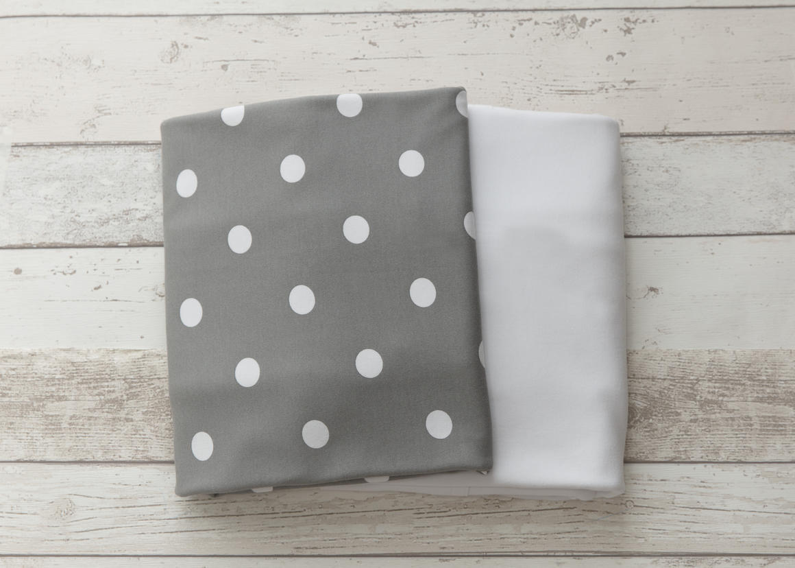 L'il Fraser Grey Polkadot & White 2-pack  Fitted Sheet Set   Trada Marketplace
