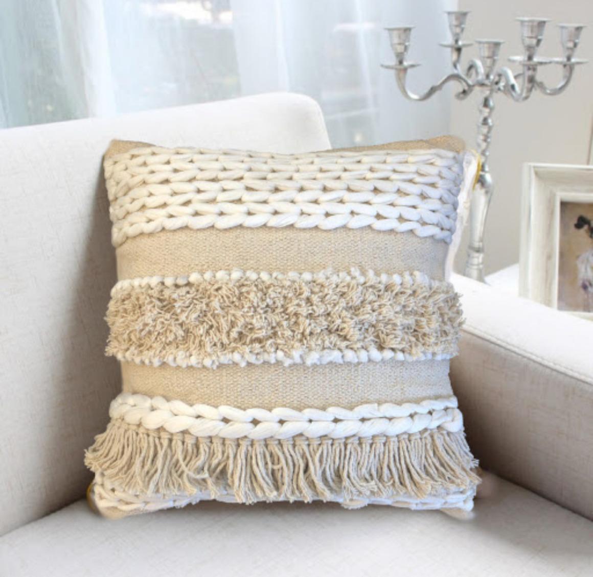 Ābhā Handmade Decorative BOHO Textured tufted Cushions Cover with Tassels | Trada Marketplace