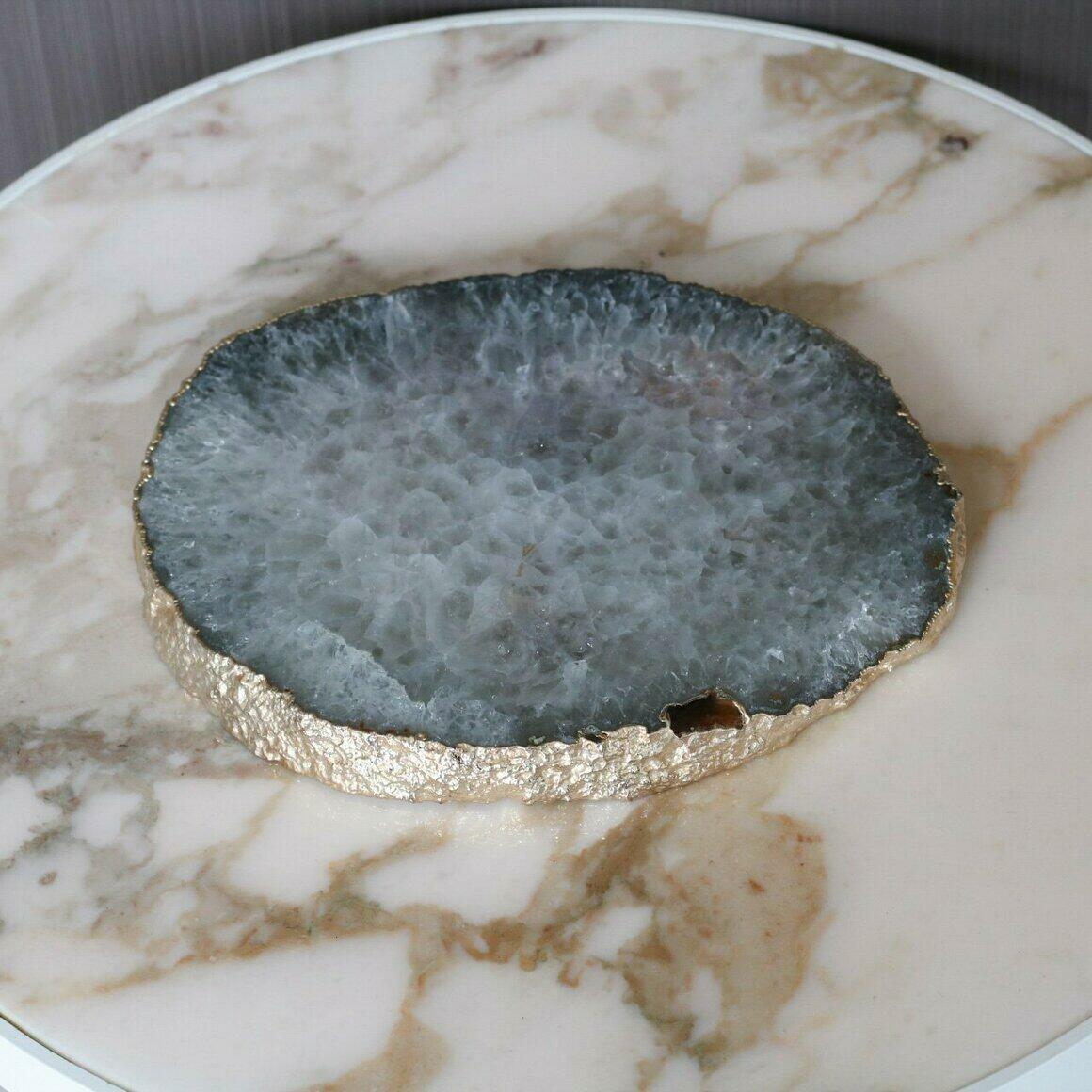 Lily Natural plated agate platter | Trada Marketplace
