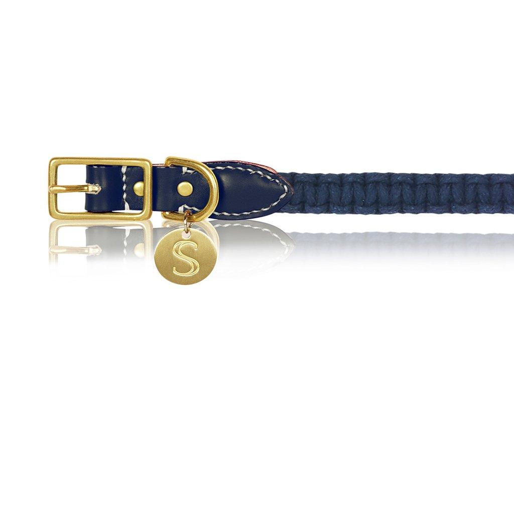 Macramé/Leather Dog Collar - Indigo   Trada Marketplace