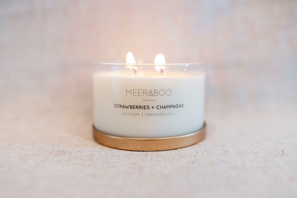 Strawberries + Champagne Gold Lid Soy Candle | Trada Marketplace