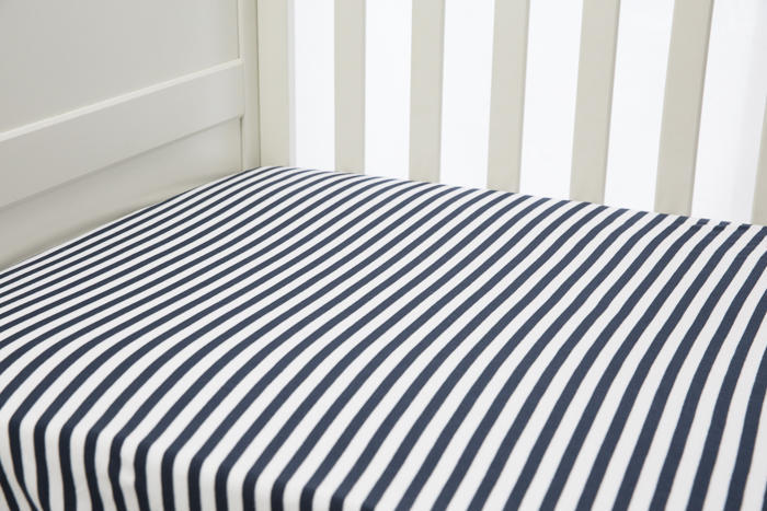 L'il Fraser Navy Stripe Fitted Sheet   Trada Marketplace