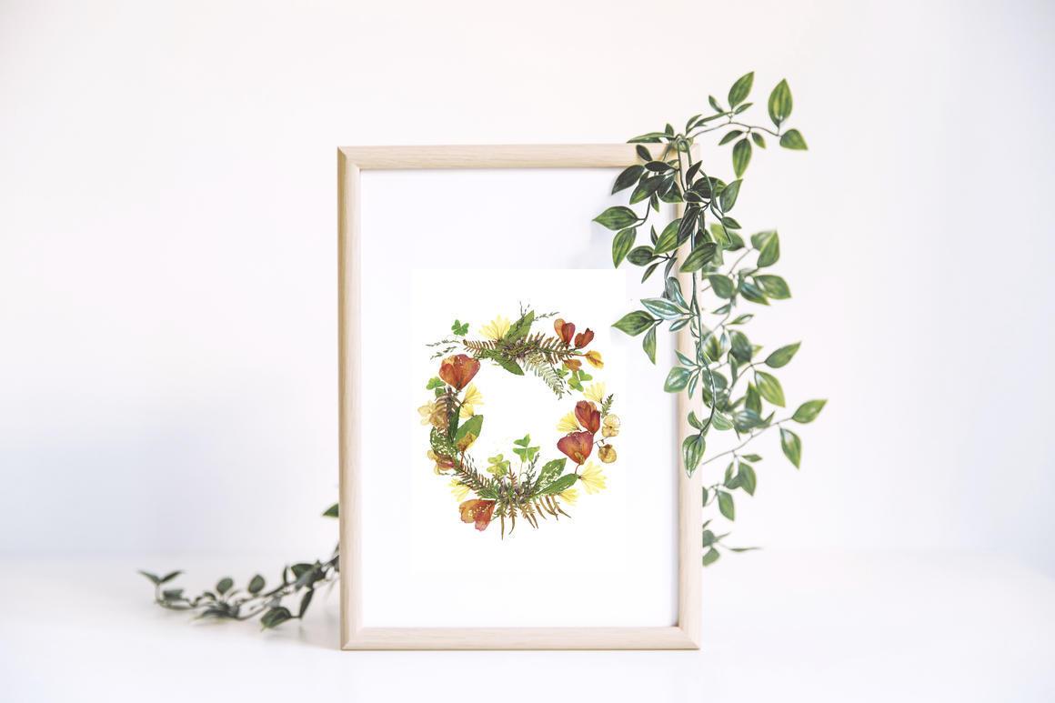 Celebrative Camellia Wreath Art Print With Gold Flake   Trada Marketplace