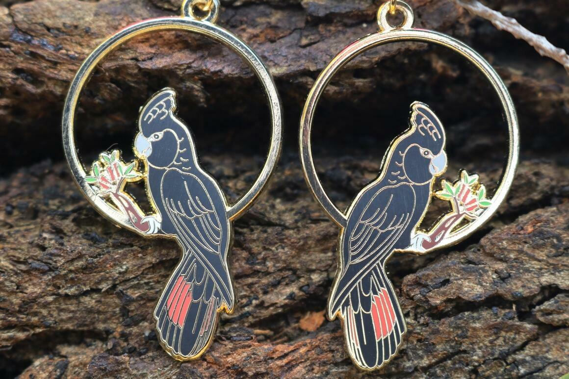 Red-Tailed Black Cockatoo Earrings | Trada Marketplace