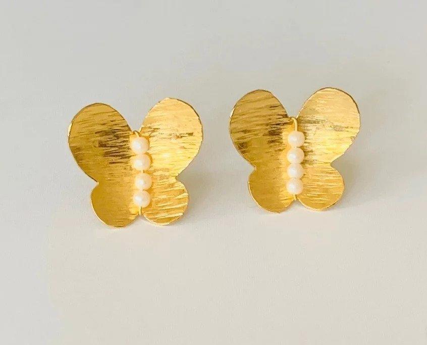 Mariposas Caribenas / Carribean Butterfly Earrings (3 pearls) | Trada Marketplace