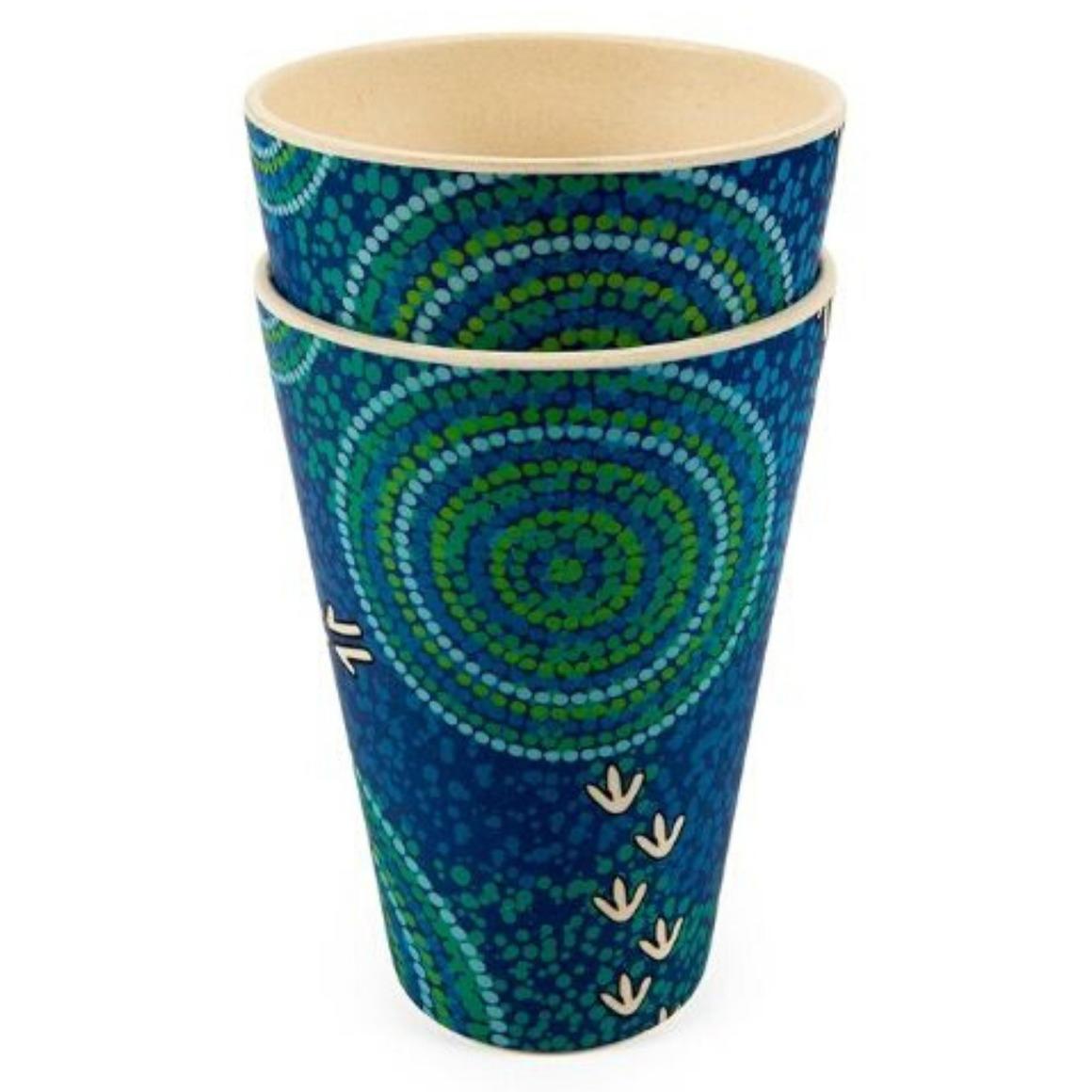 Tumblers Bamboo Aboriginal Design - Wet  Design - Luther Cora (Set of 2)   Trada Marketplace