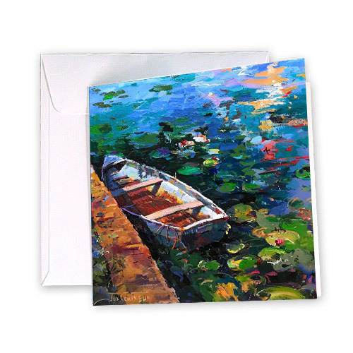 Boat and Waterlilies Greeting Card | Trada Marketplace