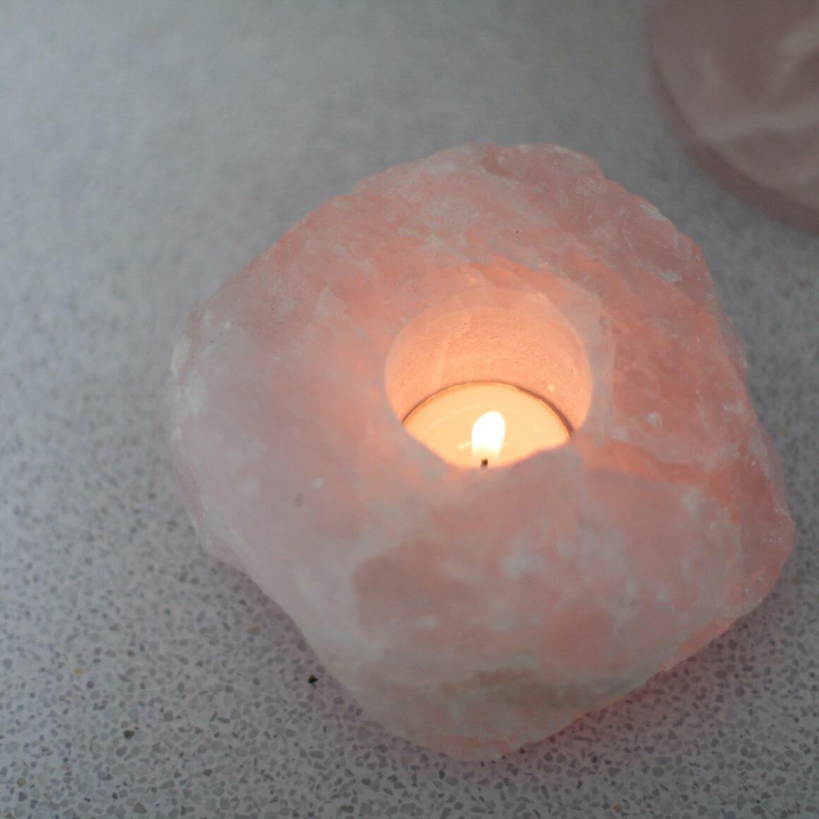 Xiggy Rough Candle Holders Quality A Rose Quartz | Trada Marketplace