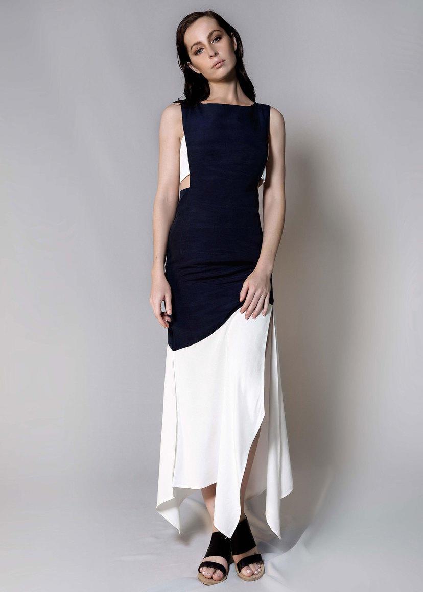 ELLE PANEL DRESS (WHITE/NAVY) | Trada Marketplace