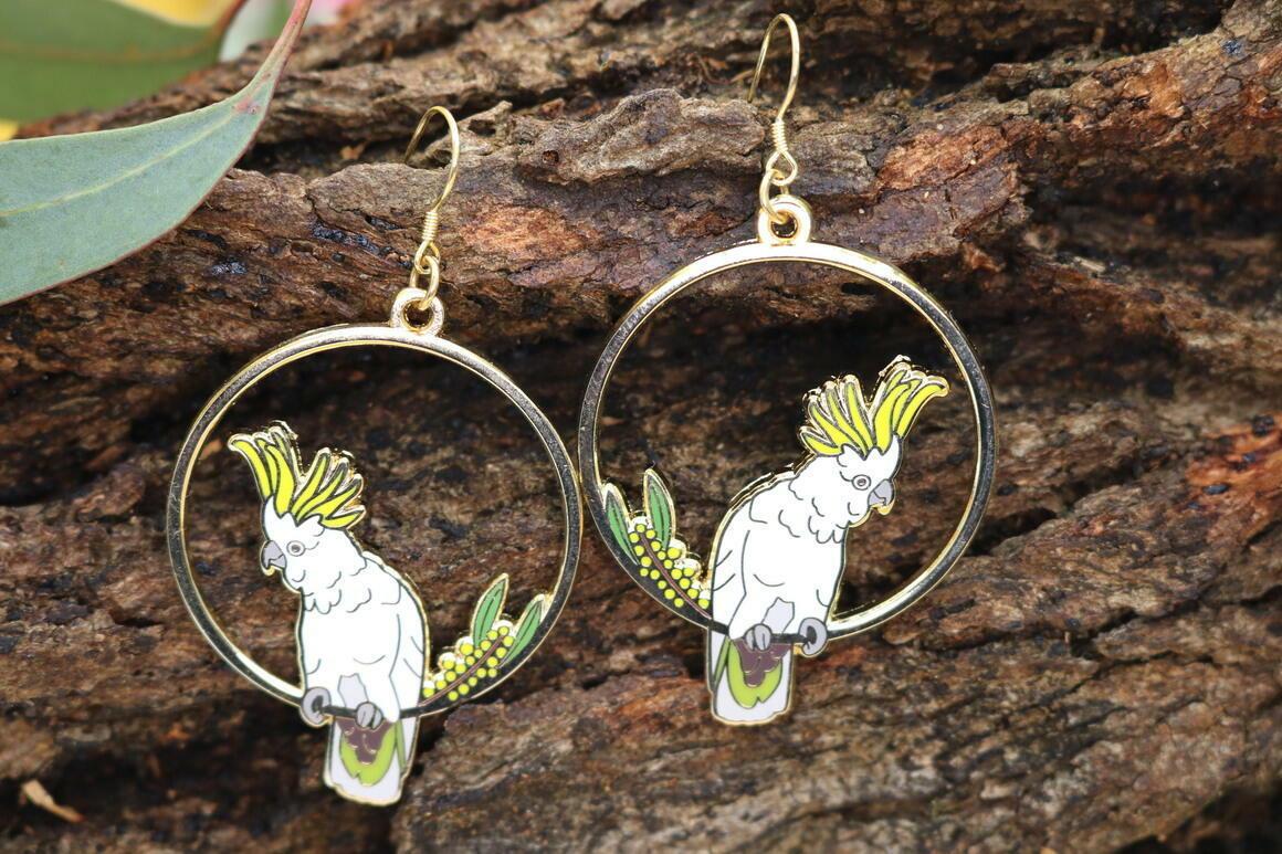 Sulphur-Crested Cockatoo Earrings | Trada Marketplace