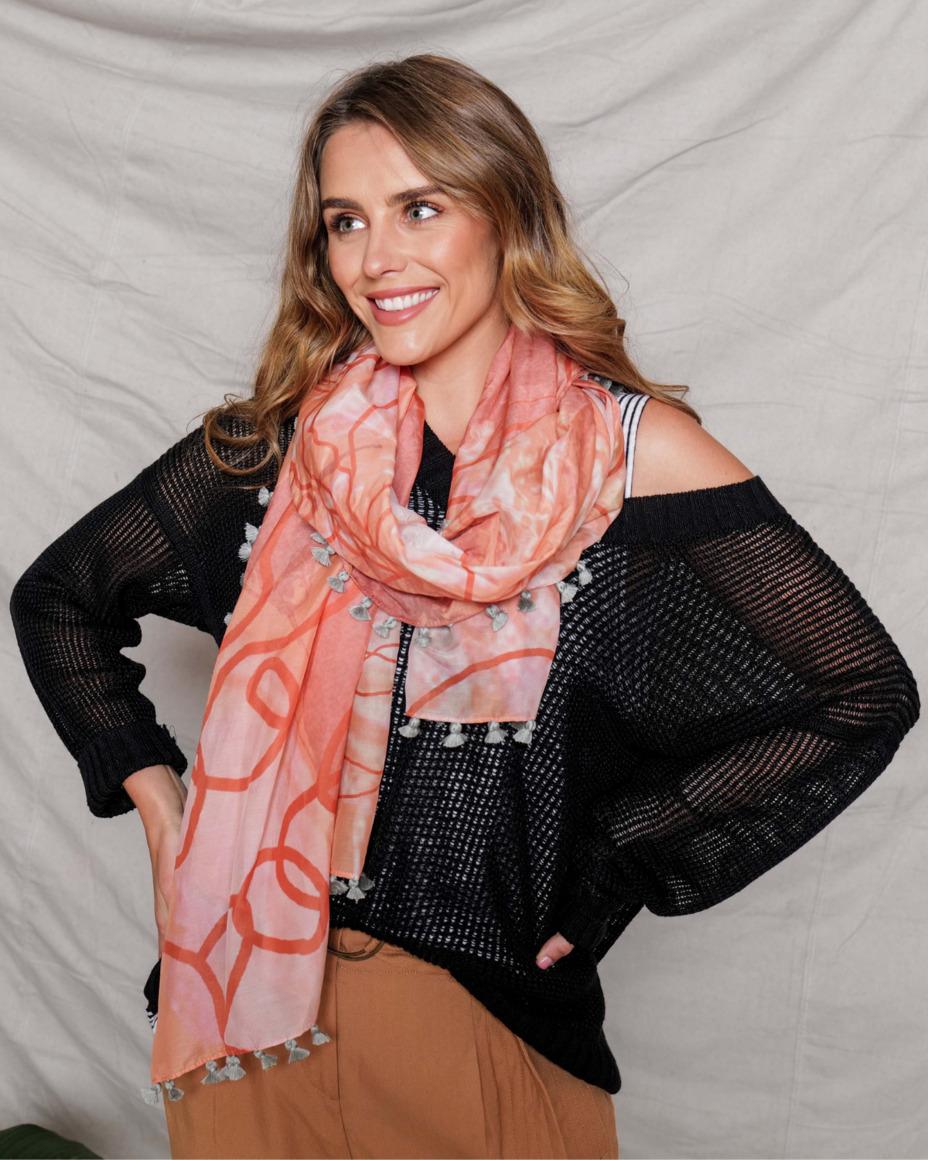 Silk-cotton tassel scarf | MORNING | Trada Marketplace