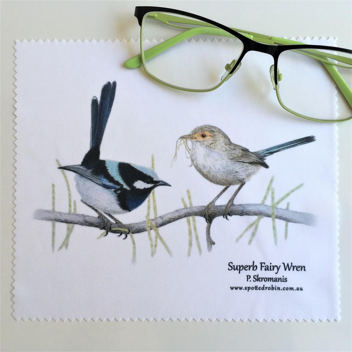 Microfibre Eyeglass Cleaning Cloth - Superb Fairy Wren Duo   Trada Marketplace