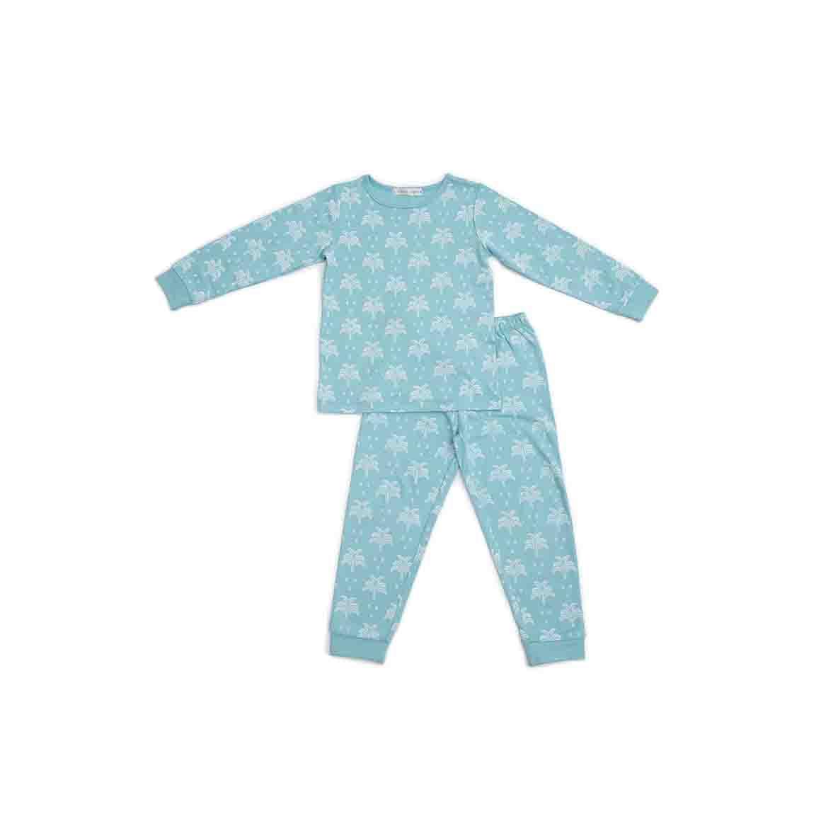 Autumn/Winter Childrens Pyjama Set - Aquatic Blue in Palms and Pineapple Print   Trada Marketplace