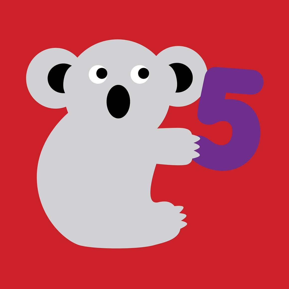 5 years old Koala Birthday card   Trada Marketplace