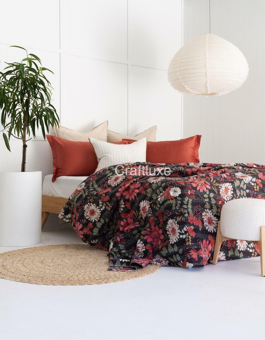 KANTHA QUILT BLACK FLOWER | Trada Marketplace