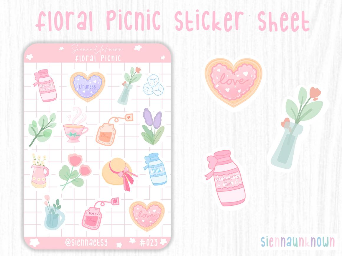Floral Picnic Sticker Sheet | Trada Marketplace