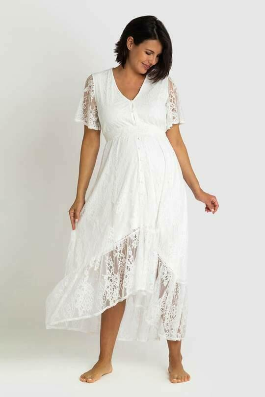 The Wanderer White Lace Maternity Gown | Trada Marketplace