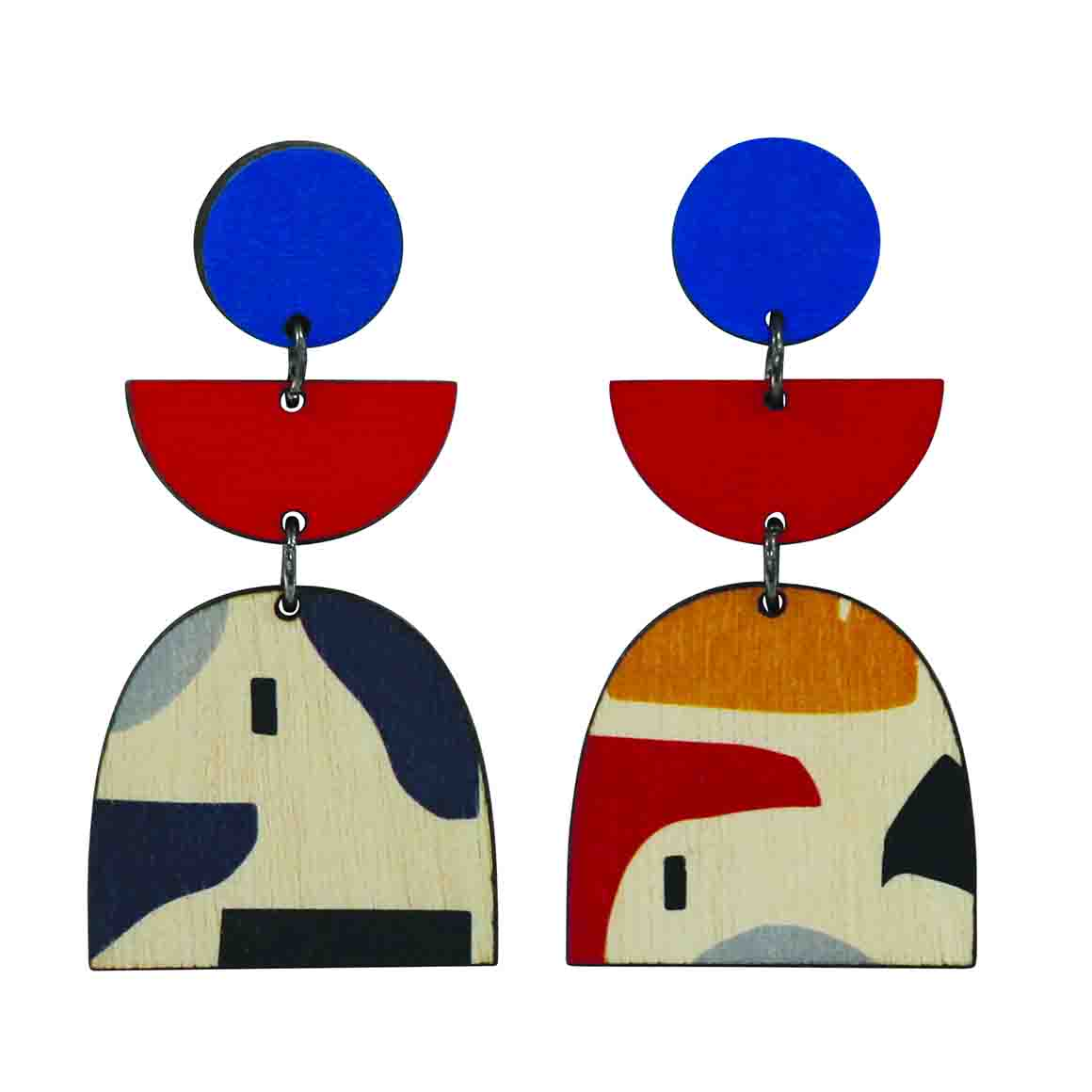 3 tiered Abstract earrings with red and blue   Trada Marketplace