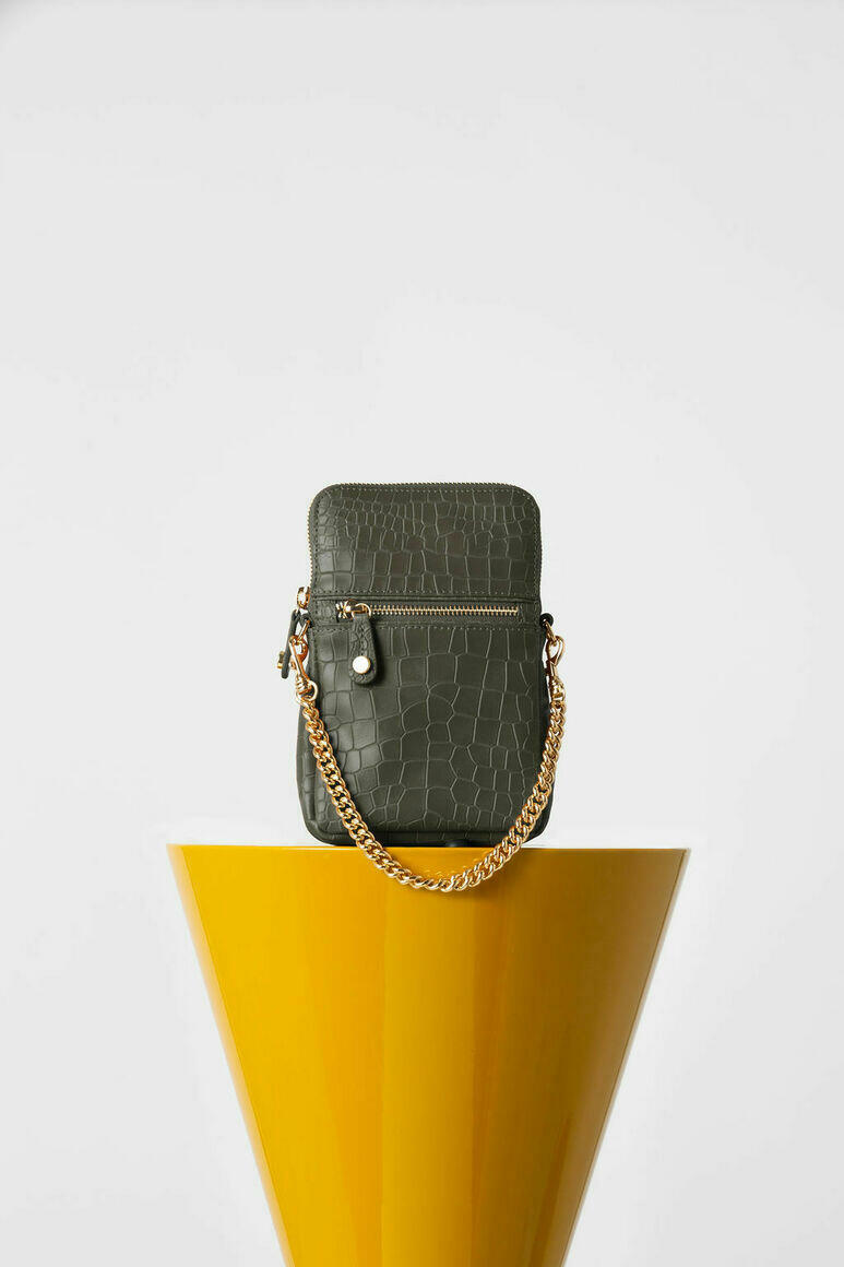 Ibiza Phone Pouch In Army Green Croc   Trada Marketplace