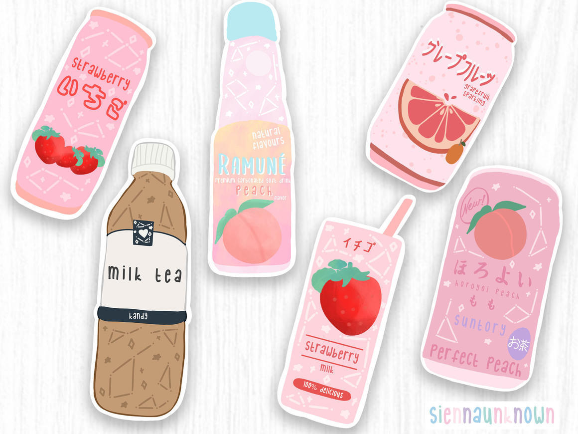 Japanese cute drink stickers & Prints | Trada Marketplace