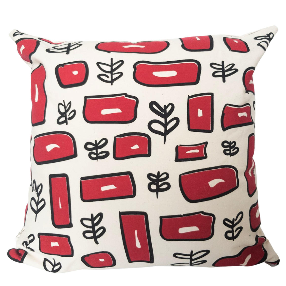 Vintage Inspired Hand Screen Printed 100% cotton square pattern cushion cover-2 Colourways-Cover and Insert | Trada Marketplace