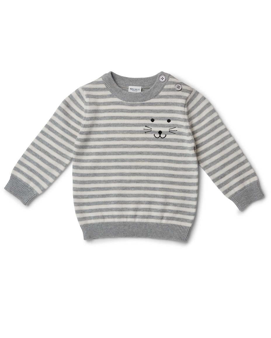 Conrad Embroided Jumper Grey Mini Stripe | Trada Marketplace