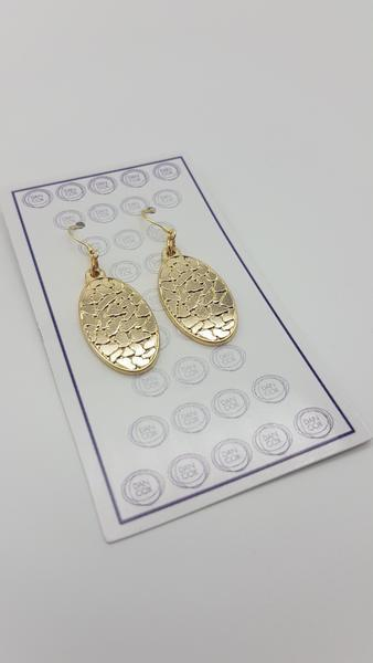 Octo Oval Yello Gold Plate Alloy Earrings Stainless Steel Hooks | Trada Marketplace