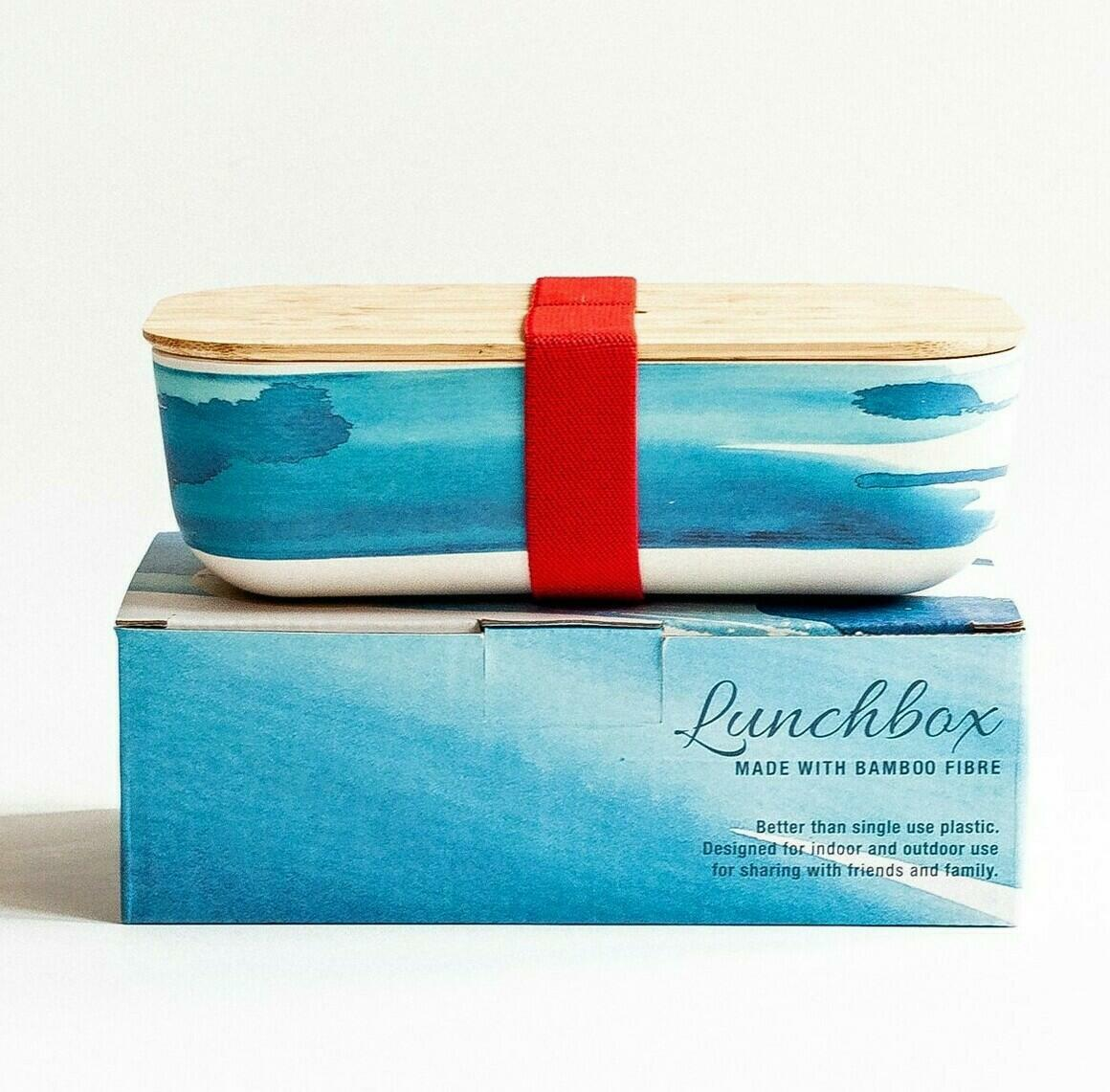 Bamboo lunch box with blue wave design | Trada Marketplace