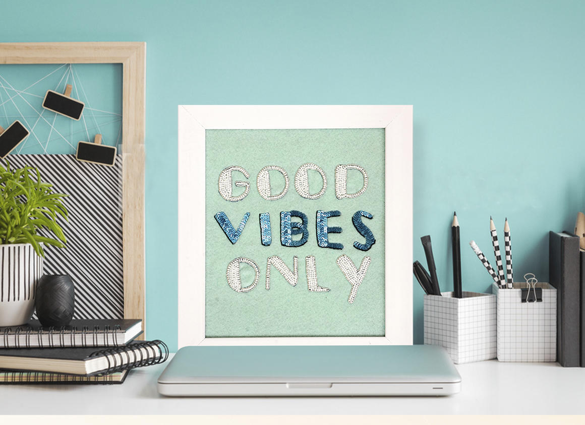 GOOD VIBES ONLY Wall Art PISTACHIO   Trada Marketplace