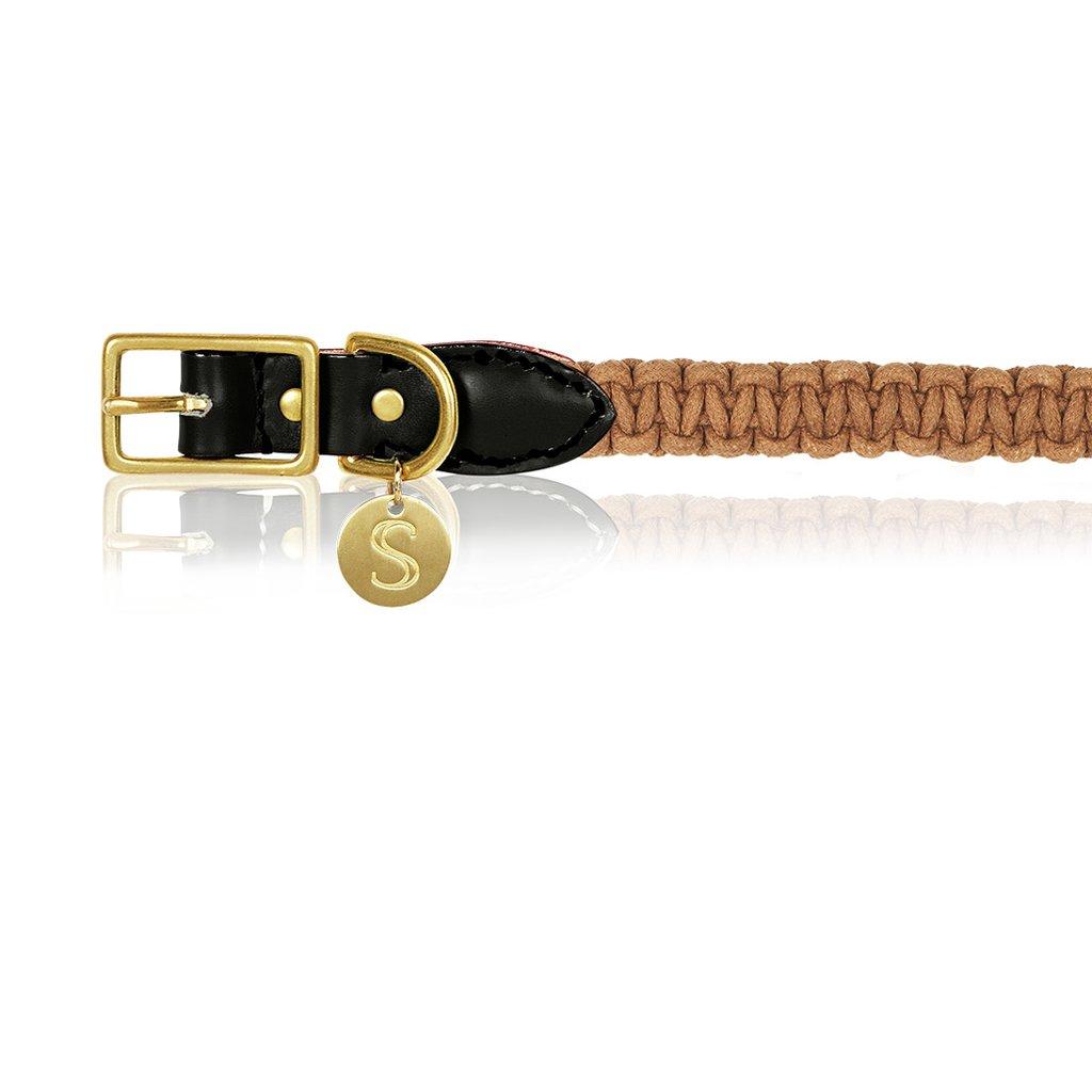 Macramé/Leather Dog Collar - Biscuit   Trada Marketplace