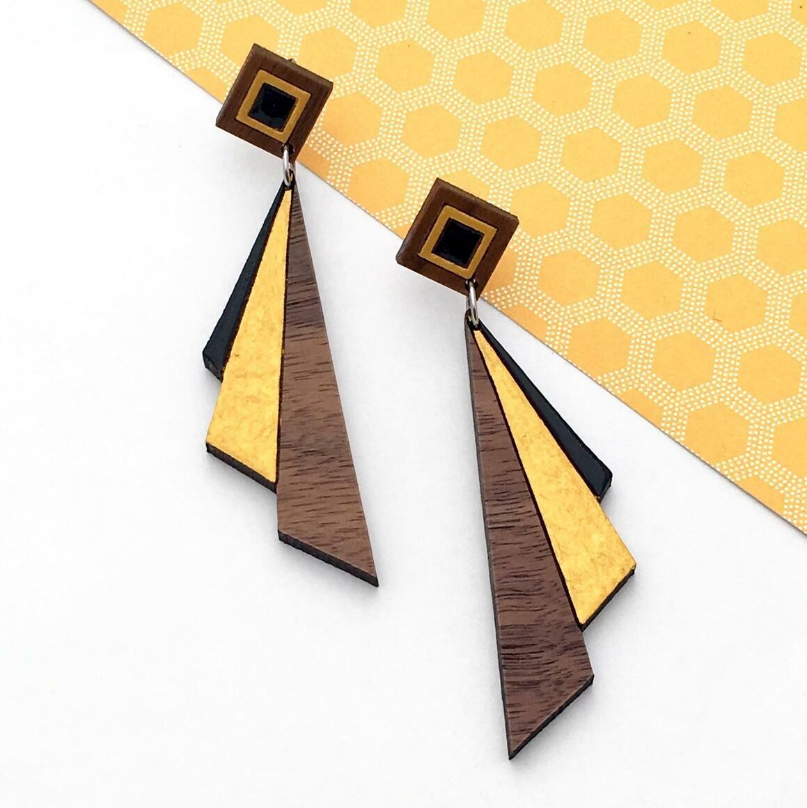 Deco Darling Walnut Fan Earrings   Trada Marketplace