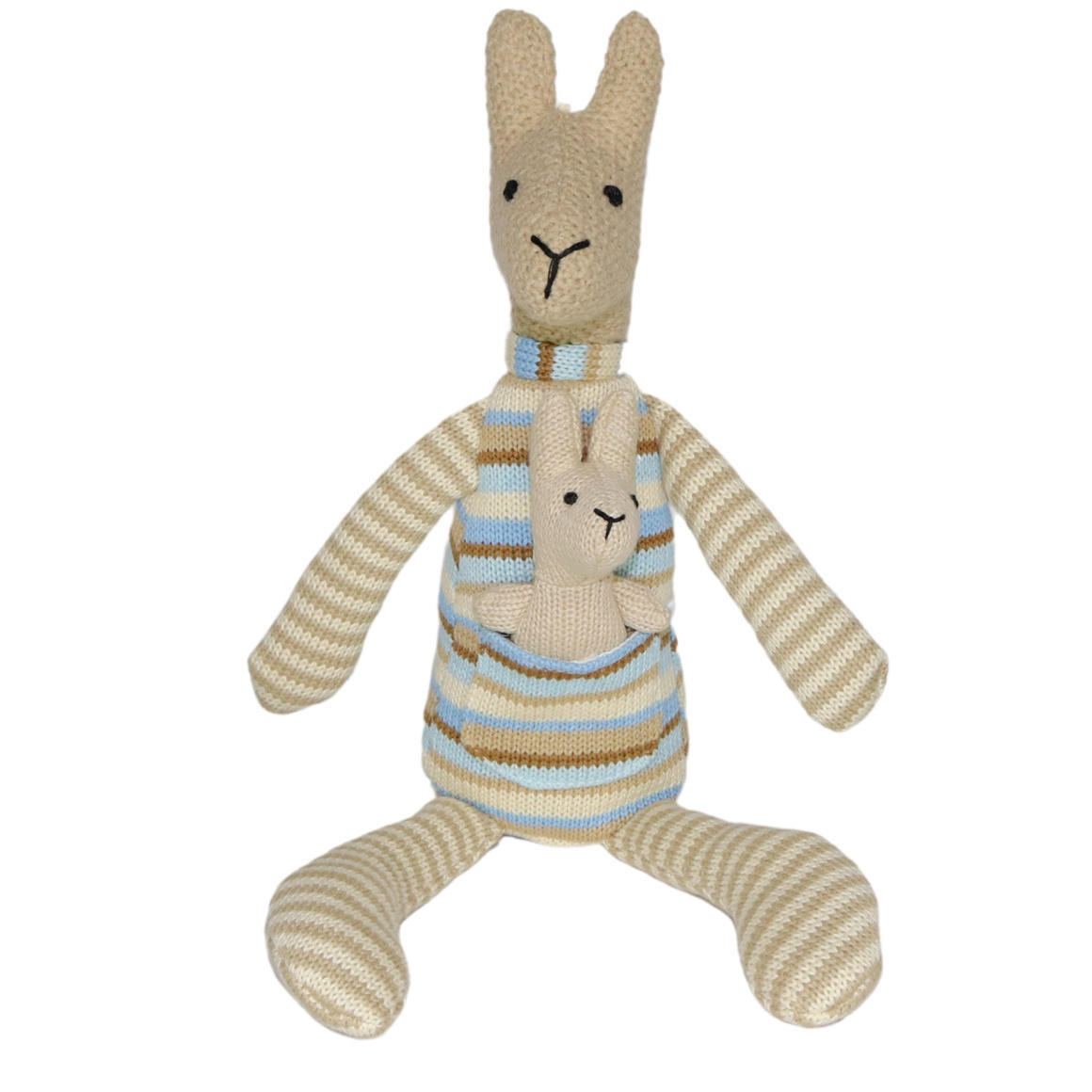 Plush Toy Kangaroo & Baby Joey - Blue/Stripe   Trada Marketplace