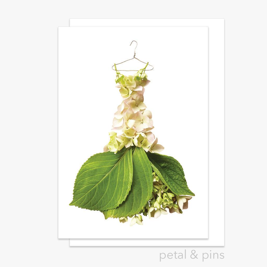 cream hydrangea gown greeting card | Trada Marketplace