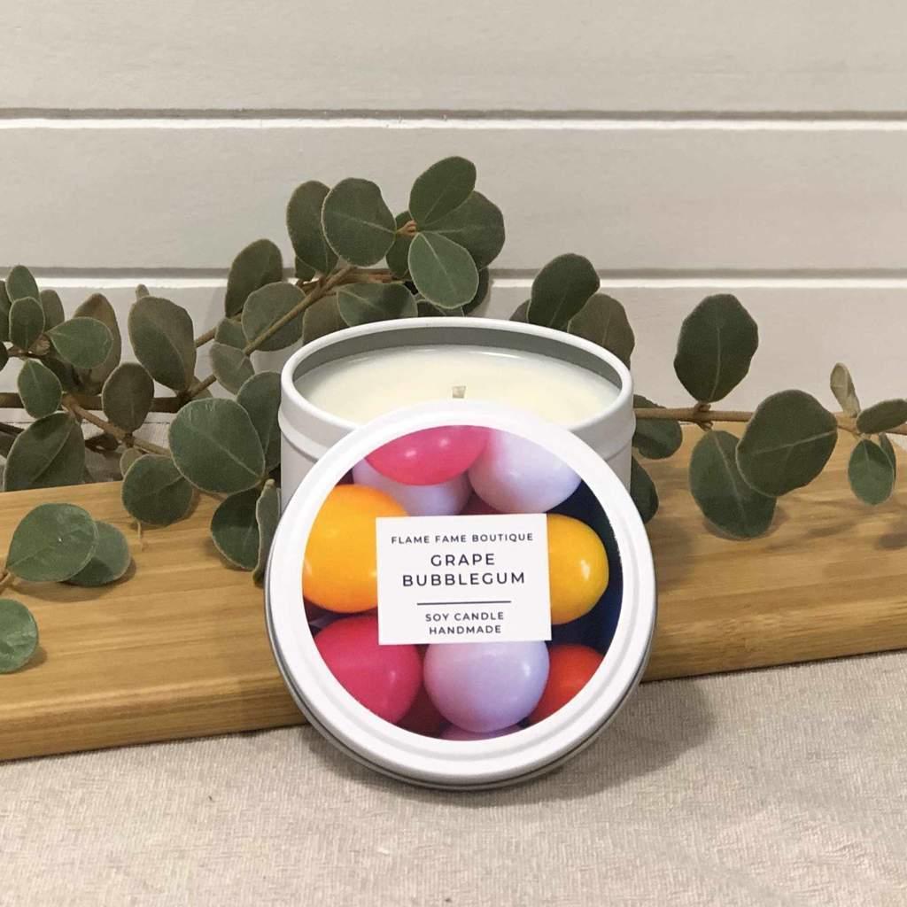 Grape Bubblegum Candle Tin   Trada Marketplace