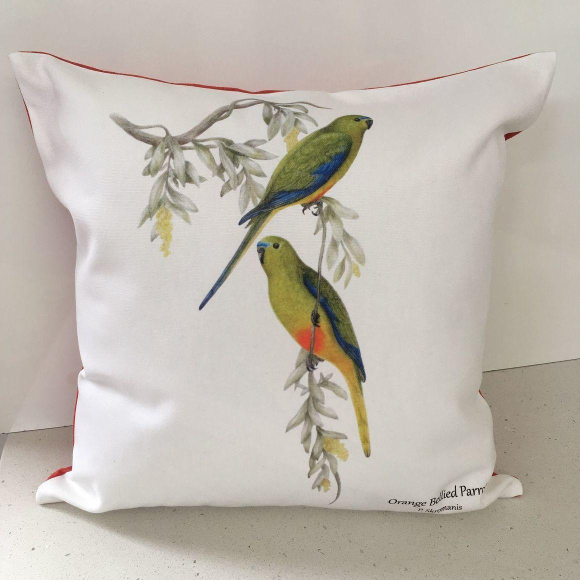 Cushion Covers - Orange Bellied Parrot   Trada Marketplace