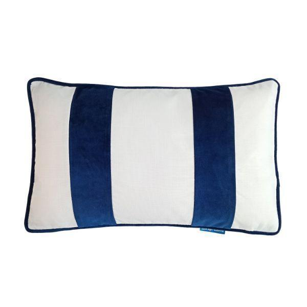 BADEN White and Dark Blue Velvet Twin Strip Cushion Cover 30 cm by 50 cm   Trada Marketplace