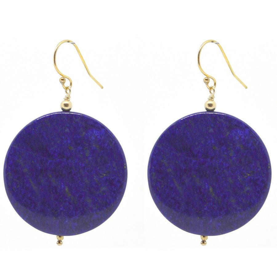 Lapis Lazuli Disk Gold Earrings | Trada Marketplace
