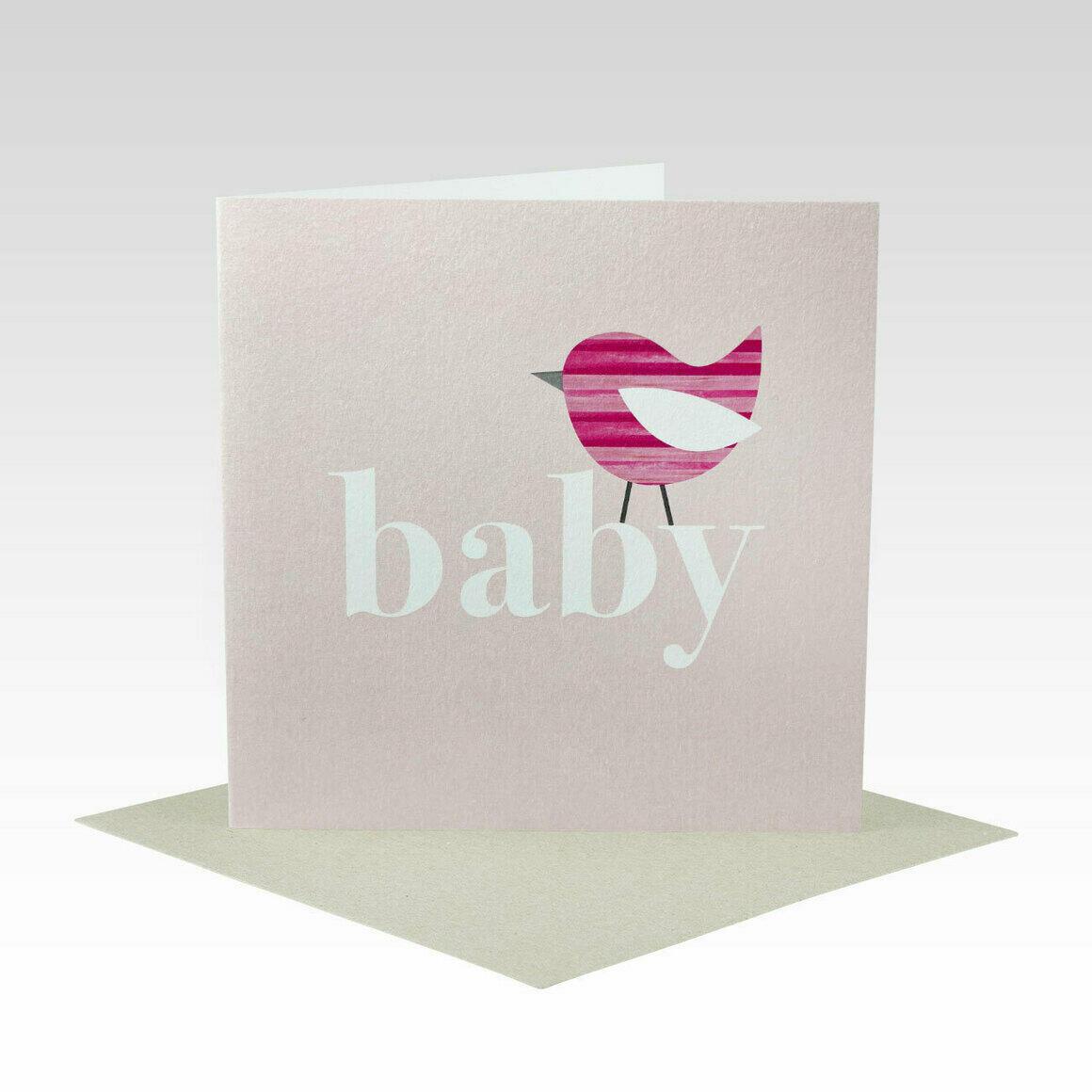 BAB024 – Pink Stripe Bird Baby Card   Trada Marketplace