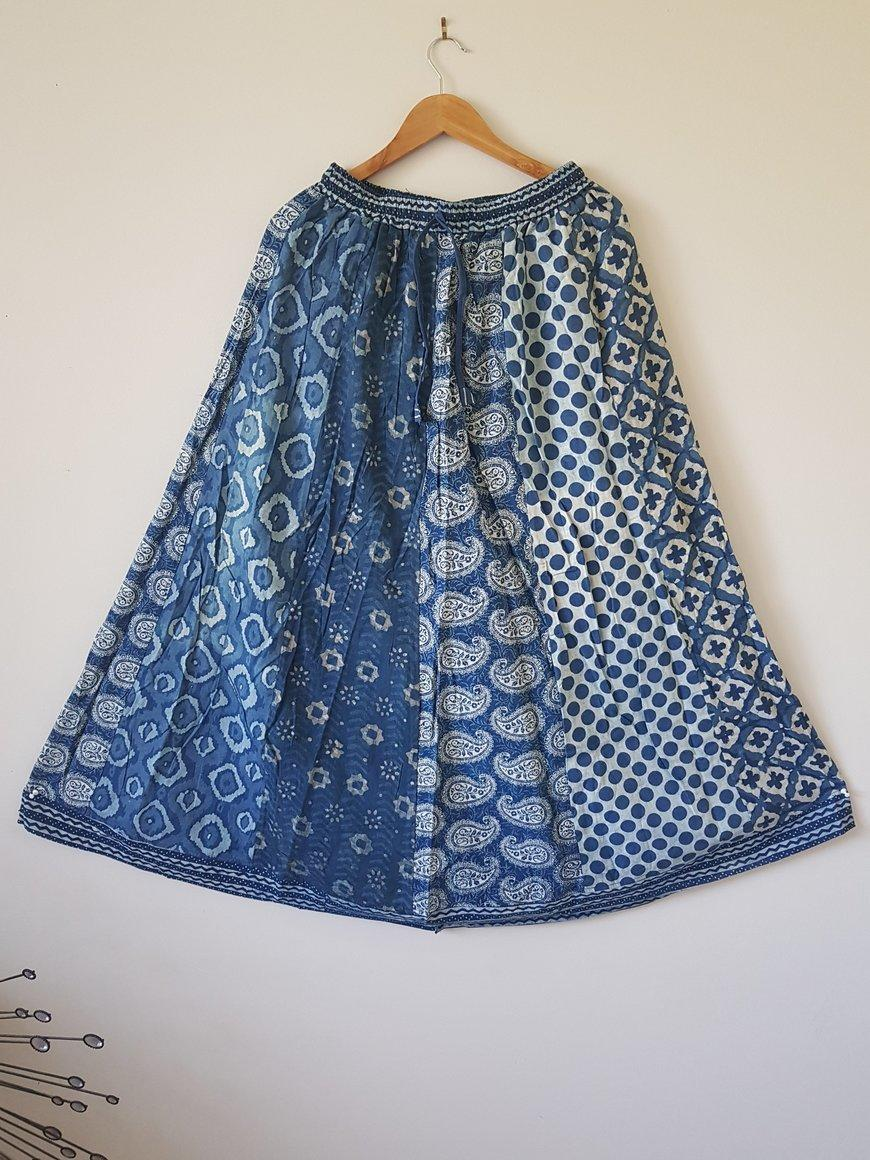 Gypsy Style Indian Cotton Hand Block Printed Skirt | Trada Marketplace