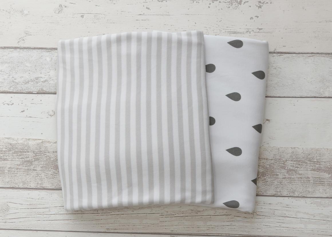 L'il Fraser Grey Stripe & Grey Raindrop 2-pack Fitted Sheet Set   Trada Marketplace