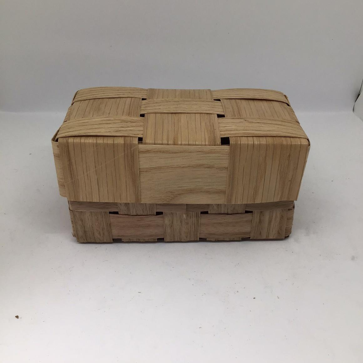 Wooden Box with lid (8x15x7cm) Woven form reclaimed timber veneer. Gift Box, Hamper | Trada Marketplace