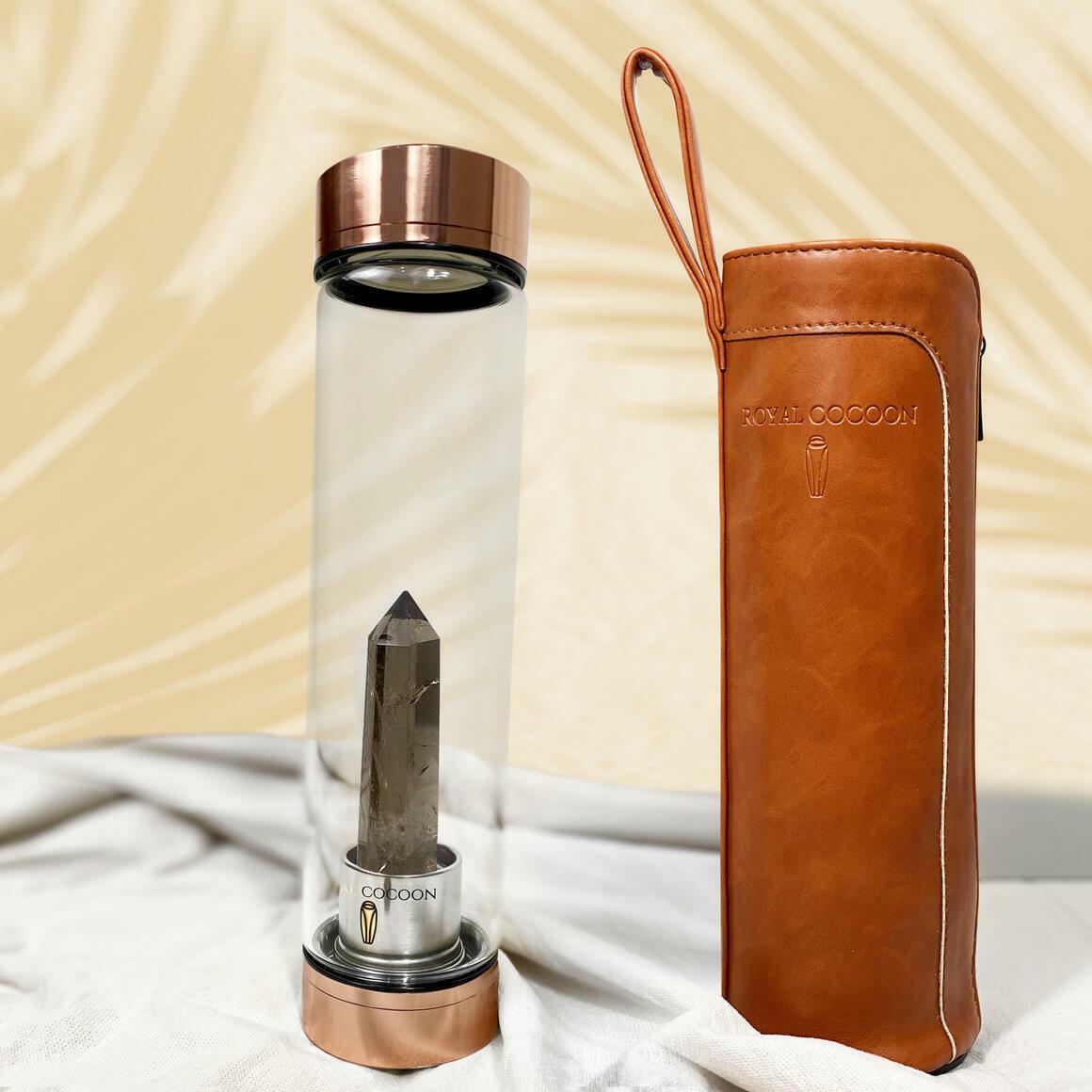 Smoky Quartz ☽ Energy Rich Hydration Bottle - Rose Gold    Trada Marketplace