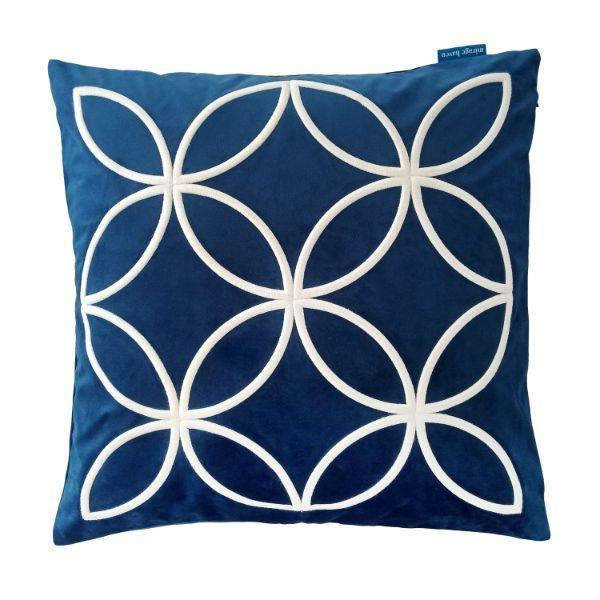 DARLEY Dark Blue and White Circle Embroidered Velvet Cushion Cover 50 cm by 50 cm   Trada Marketplace
