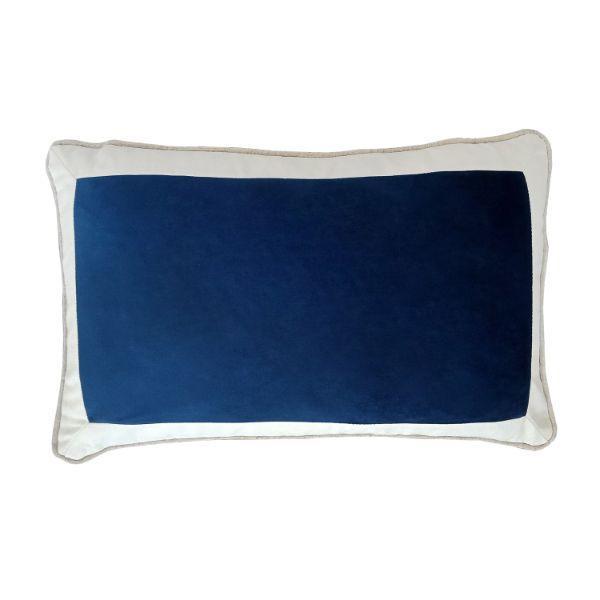 CALDER Dark Blue and White Border Velvet Cushion Cover 30 cm by 50 cm   Trada Marketplace