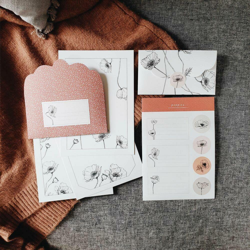 Poppies Letter Writing Set   Trada Marketplace