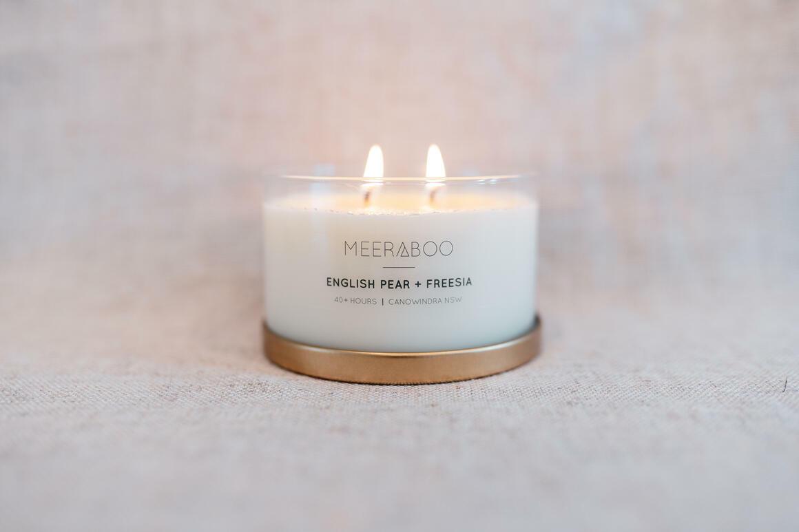 English Pear + Freesia Gold Lid Candle | Trada Marketplace