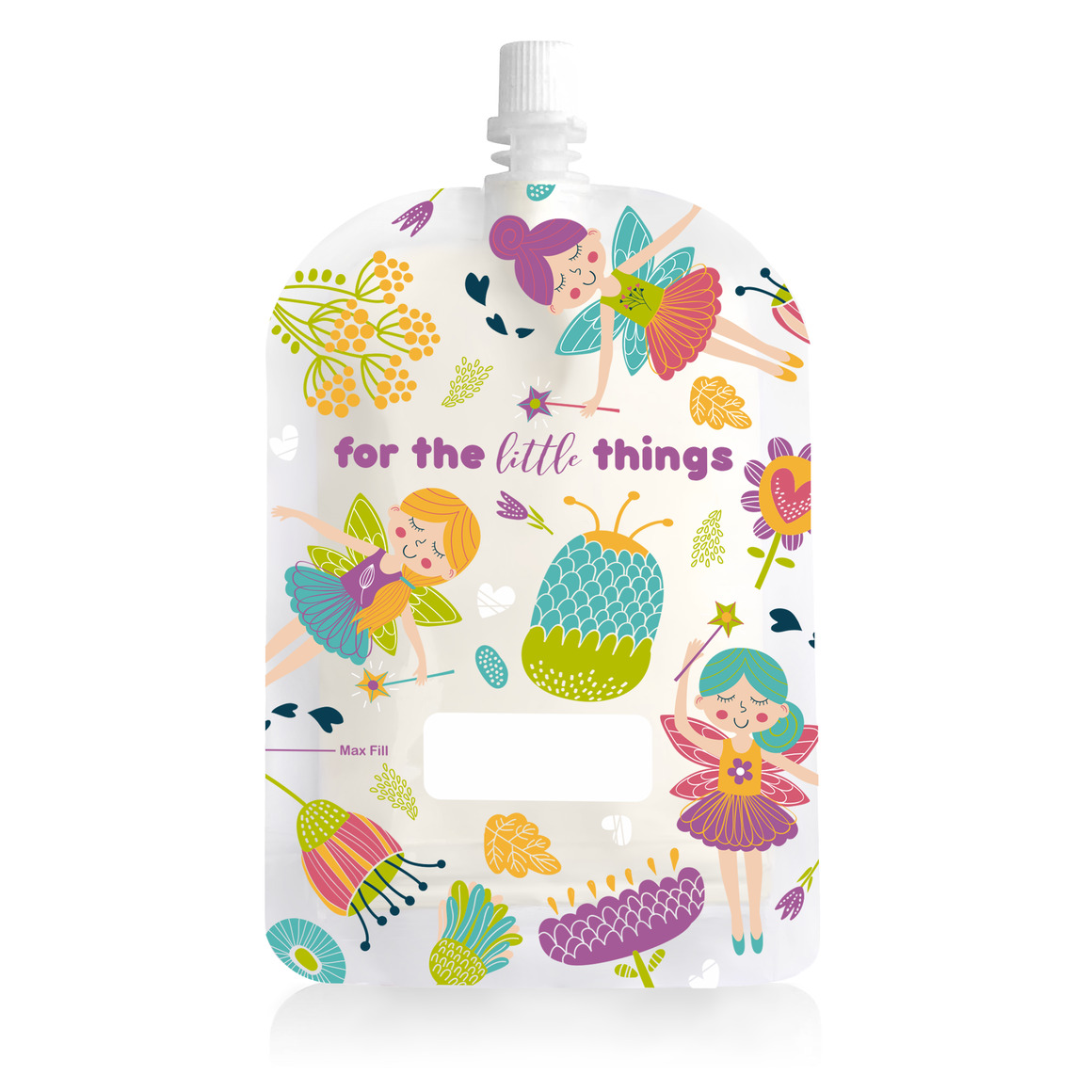 150ml Reusable Food Pouch - Fairies Print (10 pack) | Trada Marketplace