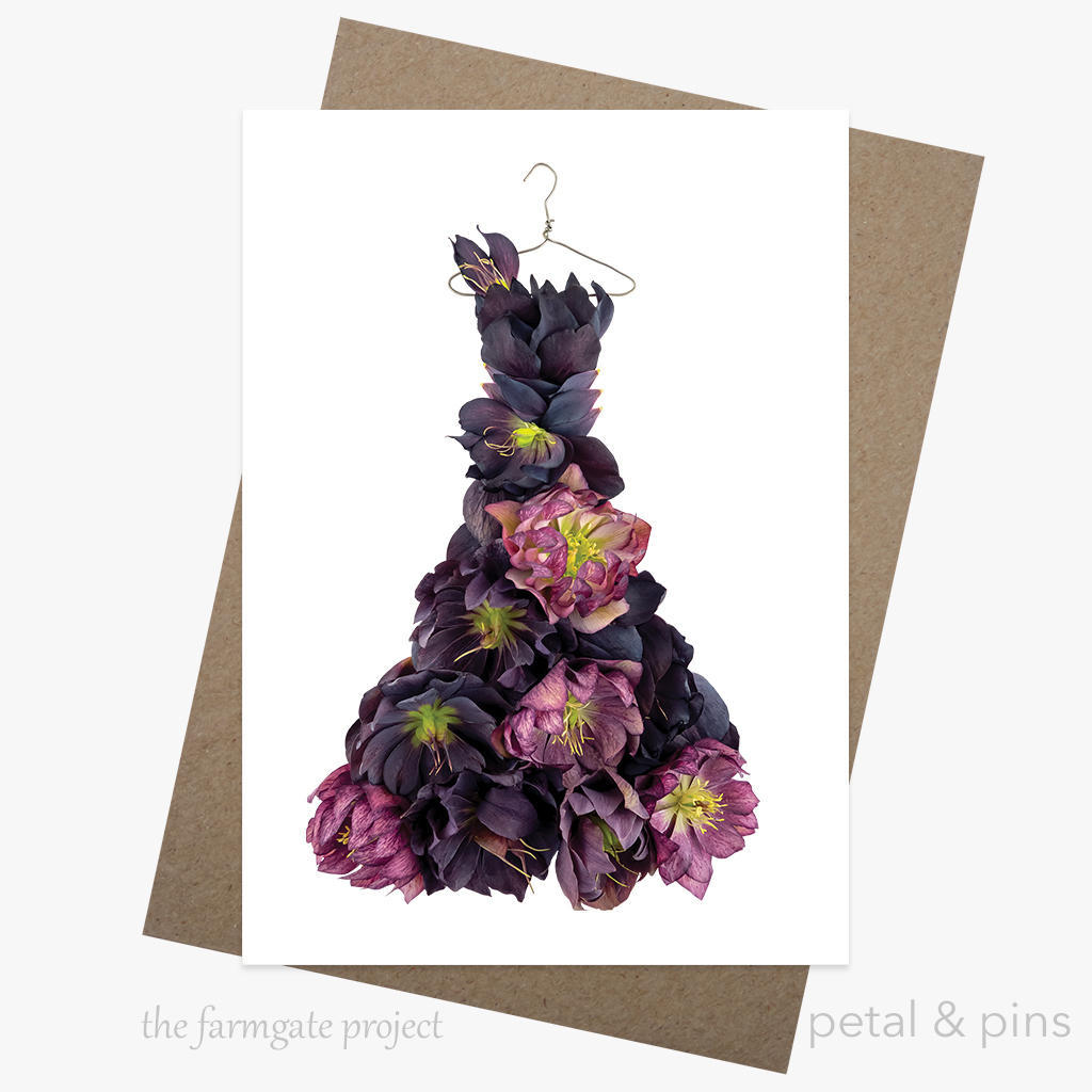 hellebore happiness dress greeting card | Trada Marketplace