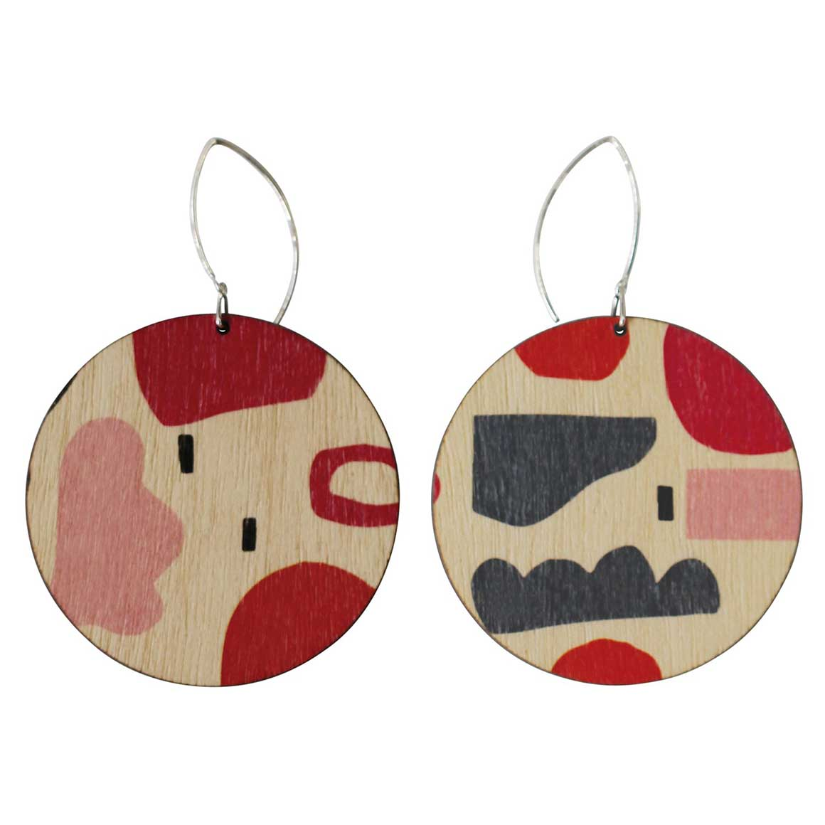 Abstract shapes in red and pink circle earrings   Trada Marketplace