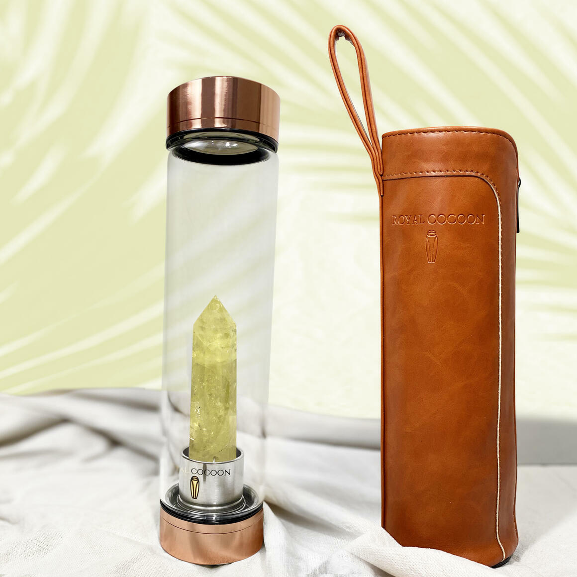 Citrine ☽ Energy Rich Hydration Bottle - Rose Gold    Trada Marketplace